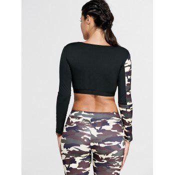 Sports Camouflage Printed Long Sleeve Crop Tee - L L