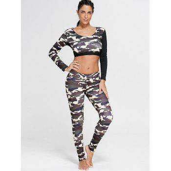Sports Camouflage Printed Long Sleeve Crop Tee - DUN S