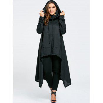 Funnel Collar Plus Size Maxi Asymmetric Hoodie