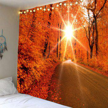 Sunlight Maple Trees Road Waterproof Wall Hanging Tapestry - RED W79 INCH * L71 INCH