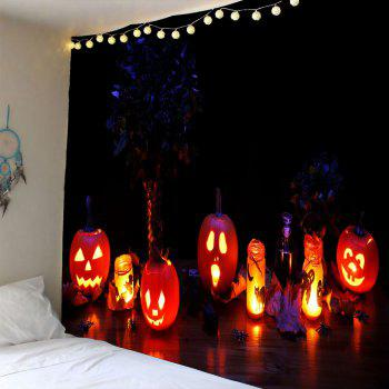 Halloween Night Pumpkin Light Wall Waterproof Tapestry - COLORFUL W79 INCH * L71 INCH