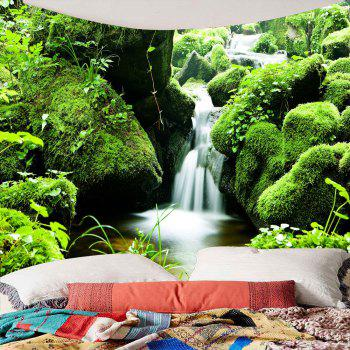 Mosses Stream Waterproof Wall Decor Hanging Tapestry - GREEN W59 INCH * L51 INCH