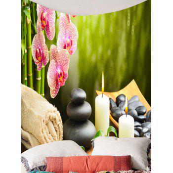 Floral Candles Stones Hanging Wall Art Tapestry - GREEN GREEN