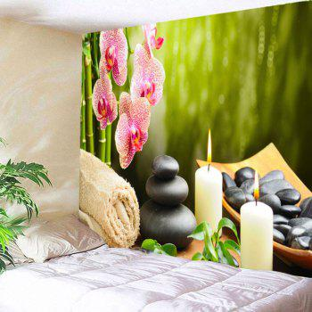 Floral Candles Stones Hanging Wall Art Tapestry - W59 INCH * L59 INCH W59 INCH * L59 INCH