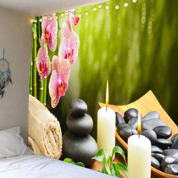 Floral Candles Stones Hanging Wall Art Tapestry - GREEN W71 INCH * L71 INCH