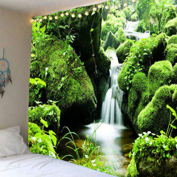 Mosses Stream Waterproof Wall Decor Hanging Tapestry - GREEN W79 INCH * L71 INCH