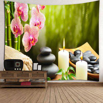 Floral Candles Stones Hanging Wall Art Tapestry - GREEN W79 INCH * L71 INCH
