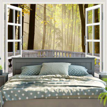 Window Forest Print Wall Hanging Tapestry - W59 INCH * L59 INCH W59 INCH * L59 INCH