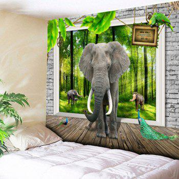 3D Elephant Print Bedroom Tapestry - GREEN W59 INCH * L51 INCH