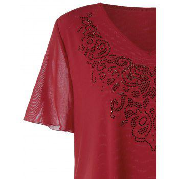 Top en mousseline de soie Embellished V-neck Top - Rouge XL