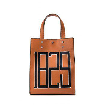 Figure Print Faux Leather Tote Bag - BROWN BROWN