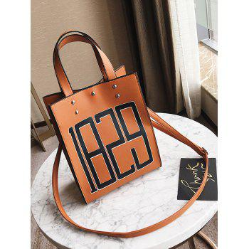 Figure Print Faux Leather Tote Bag -  BROWN