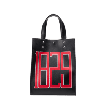 Figure Print Faux Leather Tote Bag -  BLACK