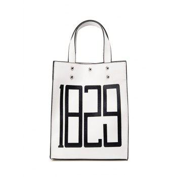 Figure Print Faux Leather Tote Bag - WHITE WHITE
