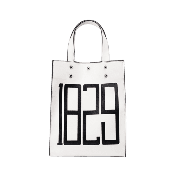 Figure Print Faux Leather Tote Bag -  WHITE
