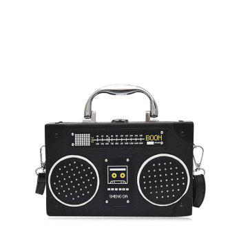 Radio Shaped PU Leather Crossbody Bag - BLACK BLACK