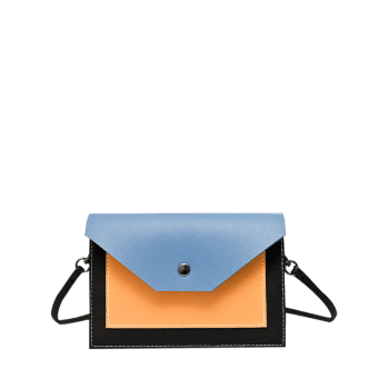 Color Block Flapped Cross Body Bag - BLUE