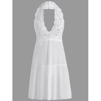Plunge Halter Lace Sheer Babydoll - WHITE S