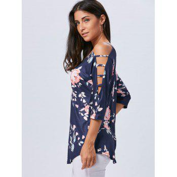 Spaghetti Strap Floral Print Cut Out T-shirt - CADETBLUE M