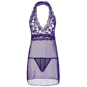 Plunge Halter Lace Sheer Babydoll - PURPLE 2XL