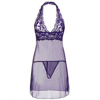 Plung Halter Lace Sheer Babydoll - Pourpre 2XL