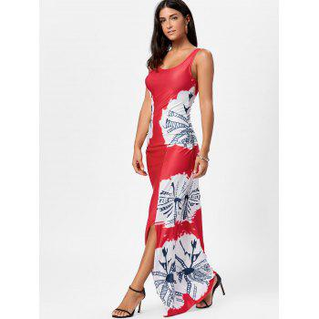 Long Slit Tie Dye Tank Dress - Rouge M