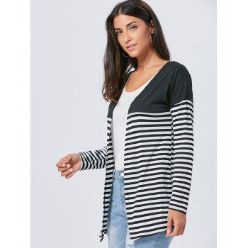 Two Tone Striped Panel Long Cardigan - S S