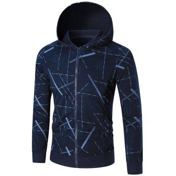 Slim Fit Printed Hoodie - BLUE 3XL