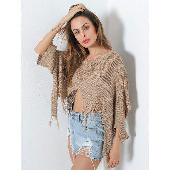 V Neck Distressed Hollow Out Short Sweater - ONE SIZE ONE SIZE