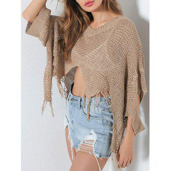 V Neck Distressed Hollow Out Short Sweater