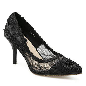Beading Lace Pointed Toe Pumps - BLACK 40