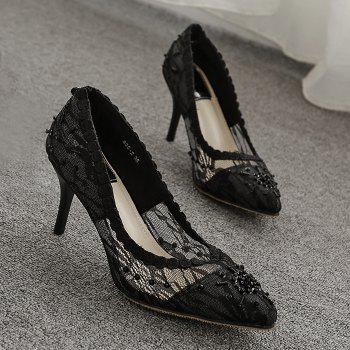 Beading Lace Pointed Toe Pumps - BLACK BLACK