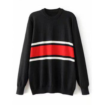 Striped Crew Neck Jumper Sweater - BLACK L