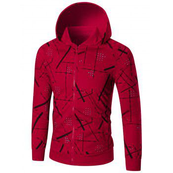 Slim Fit Printed Hoodie - RED 4XL