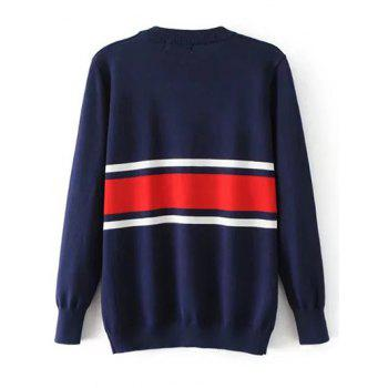 Striped Crew Neck Jumper Sweater - M M