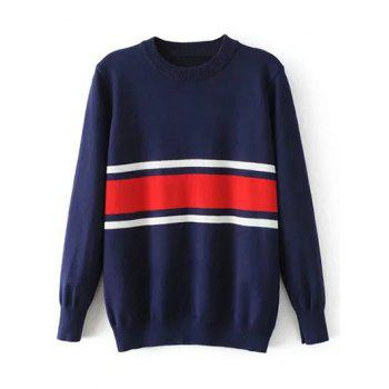 Striped Crew Neck Jumper Sweater - PURPLISH BLUE M