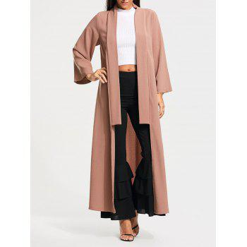 Long Maxi Cardigan with Open Front - PALE PINKISH GREY S