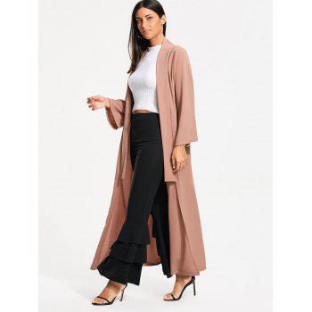 Long Maxi Cardigan with Open Front - L L