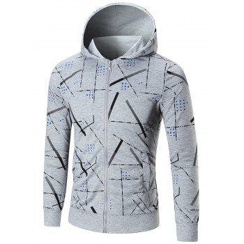 Slim Fit Printed Hoodie - GRAY XL