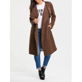 Faux Suede Long Belted Wrap Trench Coat - TAN M