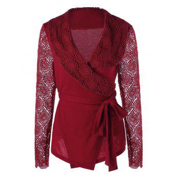 Lace Panel Plunging Neck Wrap Top - RED M