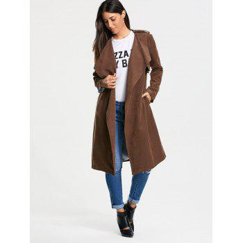 Faux Suede Long Belted Wrap Trench Coat - 2XL 2XL