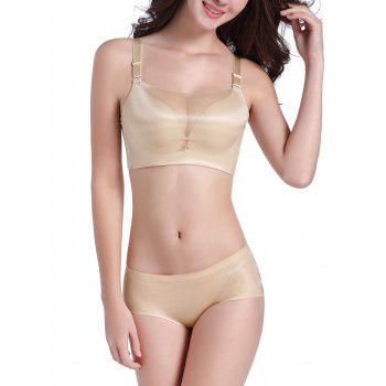 Seamless Mesh Panel Bustier Bra Set - 70A 70A