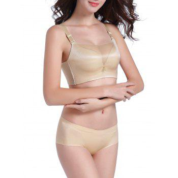 Seamless Mesh Panel Bustier Bra Set - 80A 80A