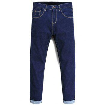 Tapered Fit Zipper Fly Basic Jeans - DEEP BLUE 36