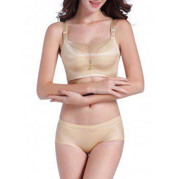 Seamless Mesh Panel Bustier Bra Set - LIGHT KHAKI 80A