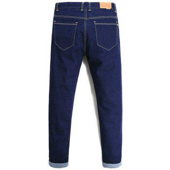 Tapered Fit Zipper Fly Basic Jeans - 36 36