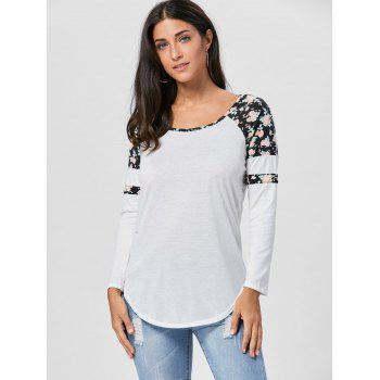 Floral Raglan Long Sleeve T-shirt - BLACK BLACK