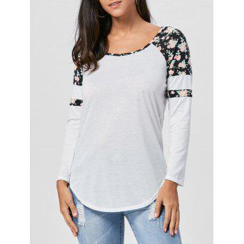 Floral Raglan Long Sleeve T-shirt - BLACK S
