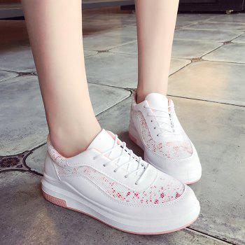 Printed Mesh Breathable Athletic Shoes - PINK 39